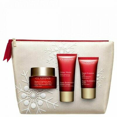 CLARINS SET SUPER RESTOR. DAY AST & NIGHT SAMP. & SR HAND