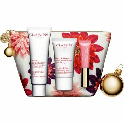 CLARINS BEAUTY FLASH BALM & GENTLE REFINER & LIP PERFEC
