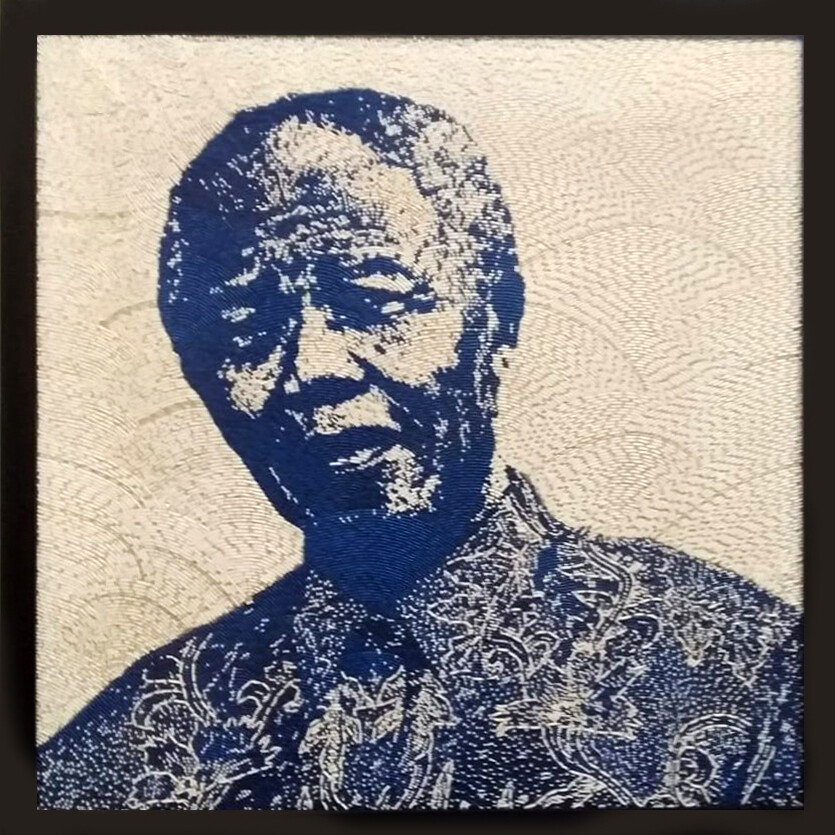 Large Beaded Panel - Nelson Mandela - Madiba - in blue