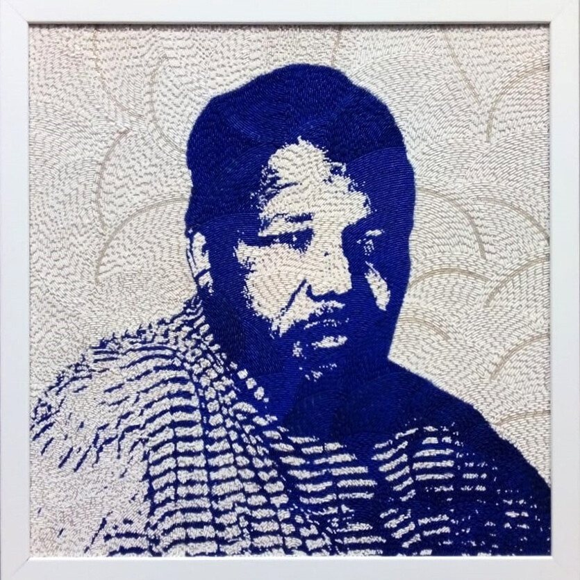 Large Beaded Panel - Nelson Mandela - Traditional - in blue