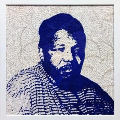 Large Beaded Panel - Nelson Mandela - Traditional - in blue