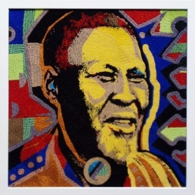 Large Beaded Panel - Albert Luthuli - Young man - in colour