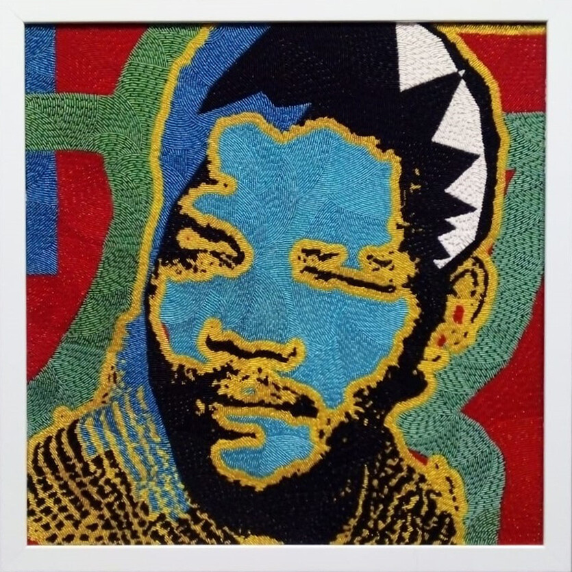Large Beaded Panel - Nelson Mandela - Young man - in colour