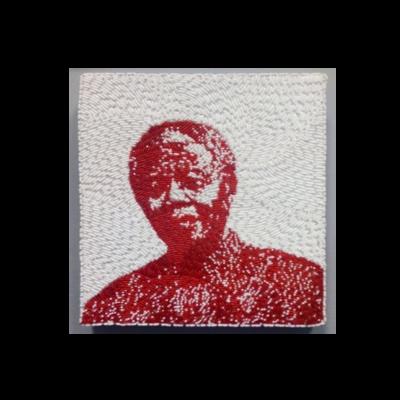 Small Beaded Panel - Nelson Mandela - in red