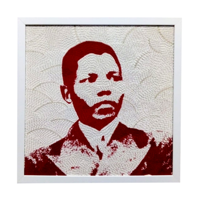 Medium Beaded Panel - Nelson Mandela - Young man - in red