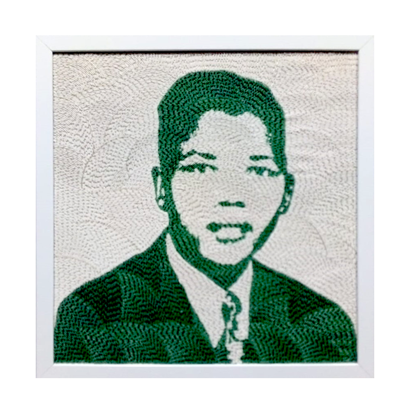 Medium Beaded Panel - Nelson Mandela - Young man - in green