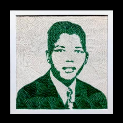 Medium Beaded Panel - Nelson Mandela - Young man - in green
