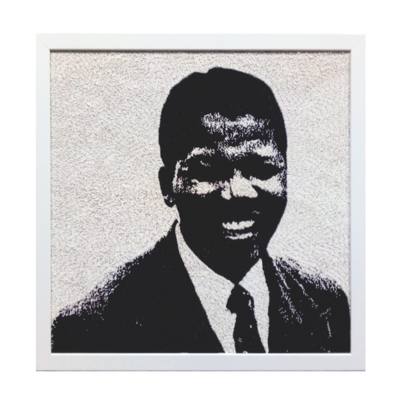 Medium Beaded Panel - Nelson Mandela - Young man - in black