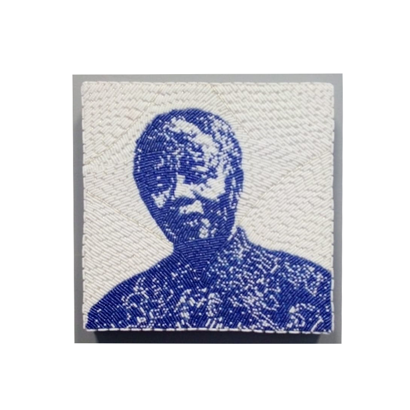 Small Beaded Panel - Nelson Mandela - in blue