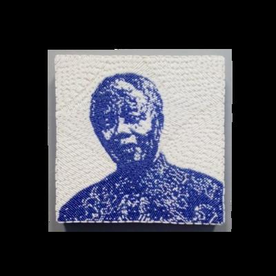 Small Beaded Panel - Nelson Mandela - in blue