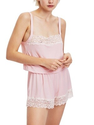 Strappy Lace Trimmed Teddy in Pale Pink By Oysho - £25.99