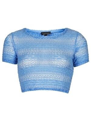 Cornflour Bobble Soft Knit Lace Crop Top by T0PSH0P