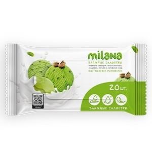Влажные антибактериальные салфетки Milana (фисташковое мороженое 20 шт.)