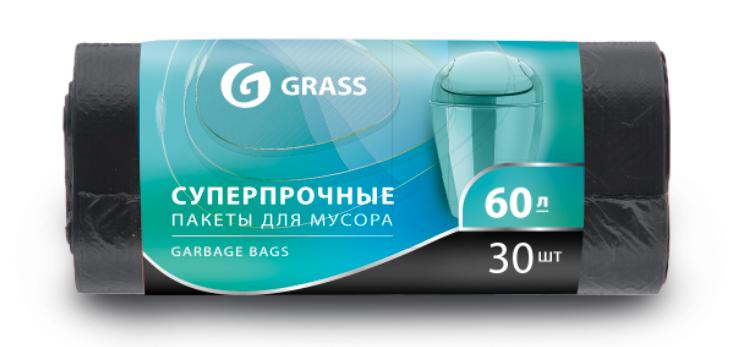 Мешок для мусора ПНД в рулоне 60 л. 65*55 см 8 мкр. в рулоне 30 штук, черный цвет