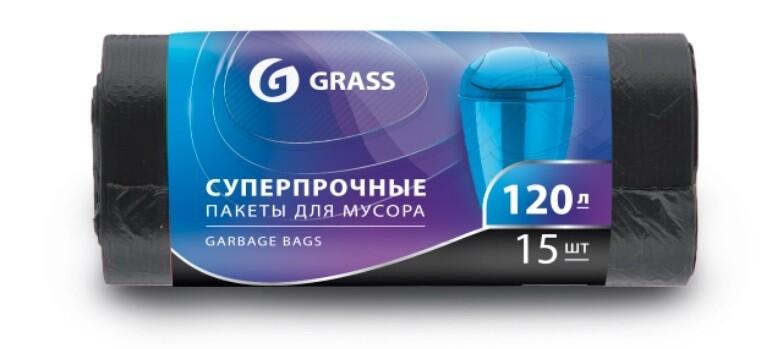 Мешок для мусора ПНД в рулоне 120 л. 65*105 см 17 мкр. в рулоне 15 штук, черный цвет