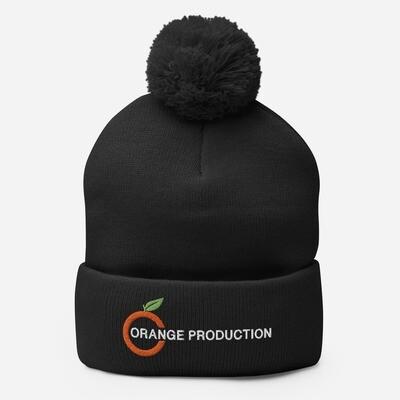 Orange Bommel Mütze