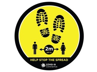 Covid-19 Sign Floor Graphic Self Adhesive 'Feet' 320mm x 320mm