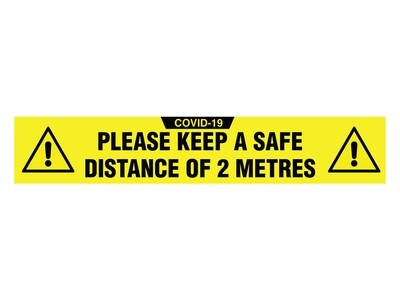 Covid-19 Sign Floor Graphic Self Adhesive 'Please Keep A Safe Distance' 500mm x 90mm