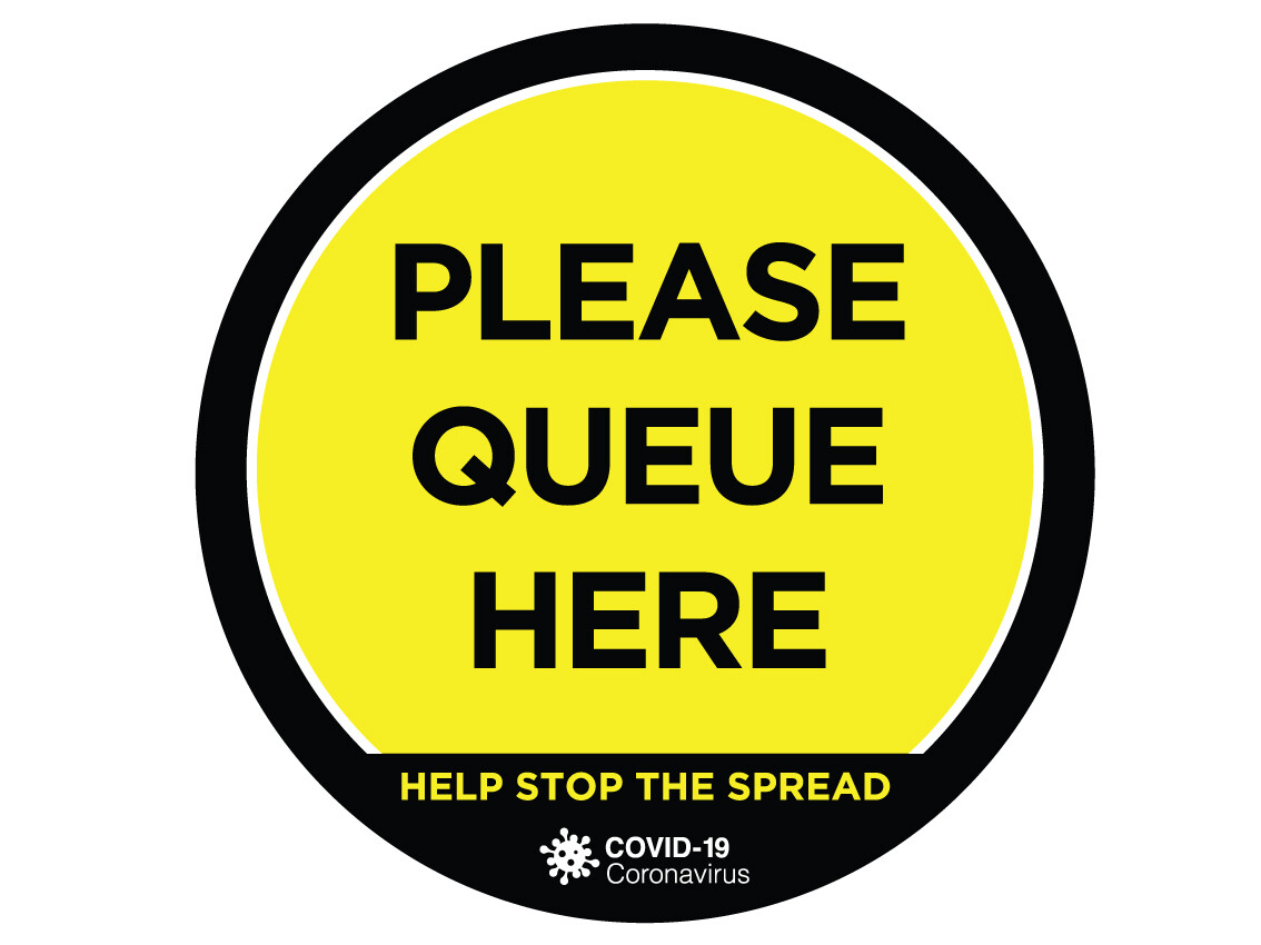 Covid-19 Sign Floor Graphic Self Adhesive 'Please Queue Here' 320mm x 320mm