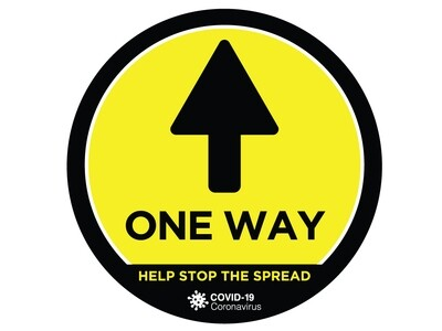 Covid-19 Sign Floor Graphic Self Adhesive 'One Way' 320mm x 320mm