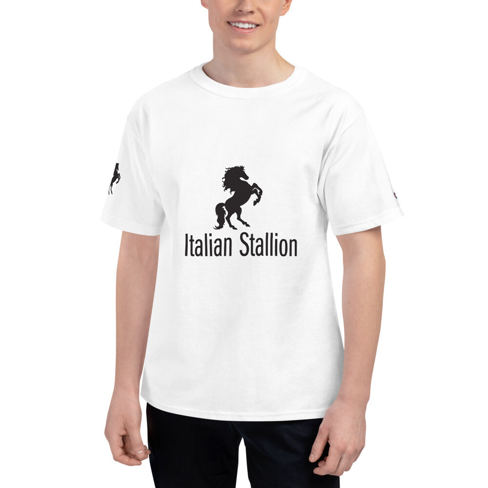Italian Stallion Men's Champion T-Shirt Printed Sleeve