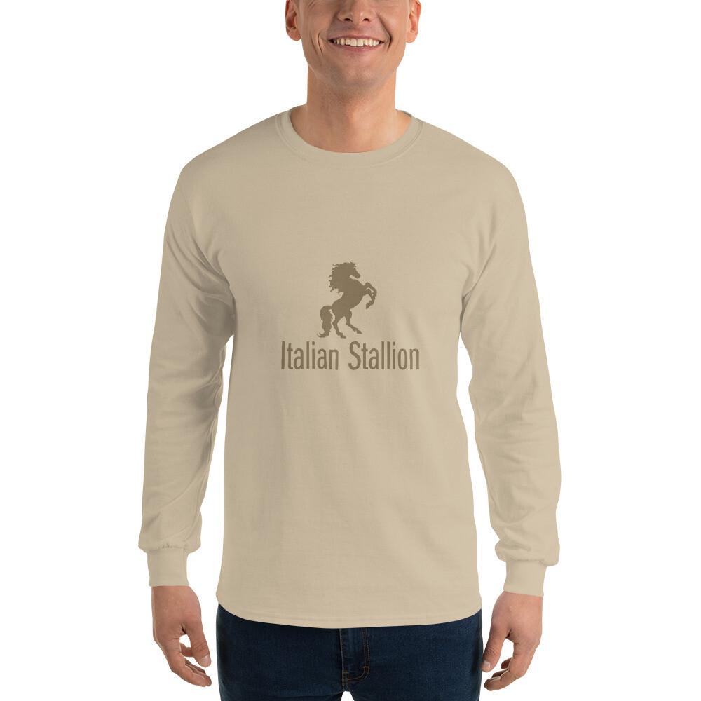 Italian Stallion Men's Long Sleeve Shirt (Gold Stallion)