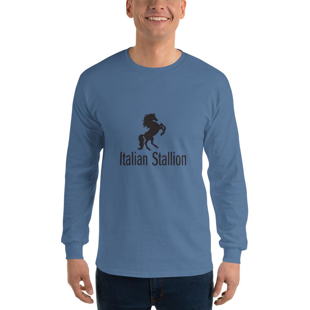 Italian Stallion Men's Long Sleeve Shirt (Black Logo)