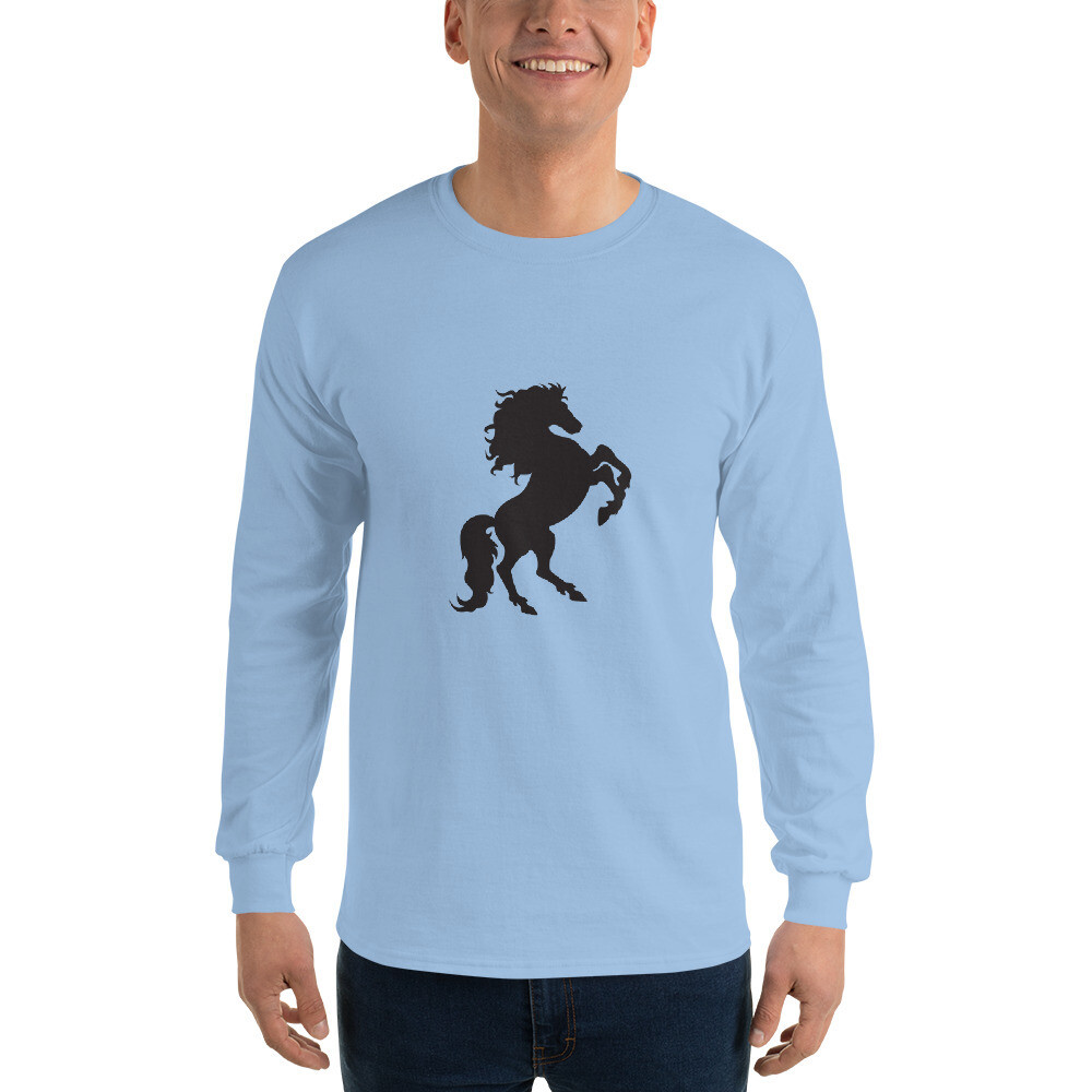 Italian Stallion Men's Long Sleeve Shirt (Prancing Stallion)