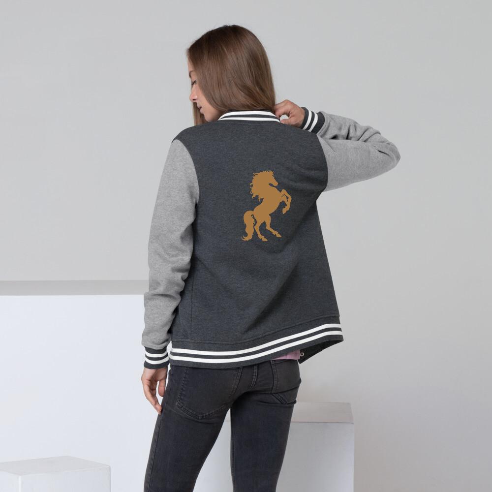 Italian Stallion Women's Letterman Jacket (Gold Stallion)