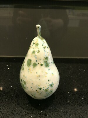 Ceramic pear with speckled glaze