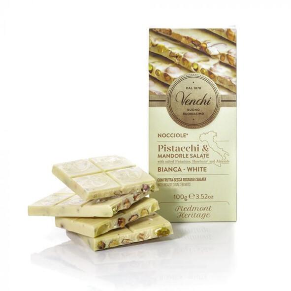 Tavoletta cioccolato bianco, nocciole, pistacchio e mandorle Salate Venchi g 100