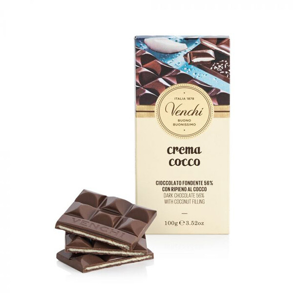 Tavoletta di cioccolato fondente al cocco g 100