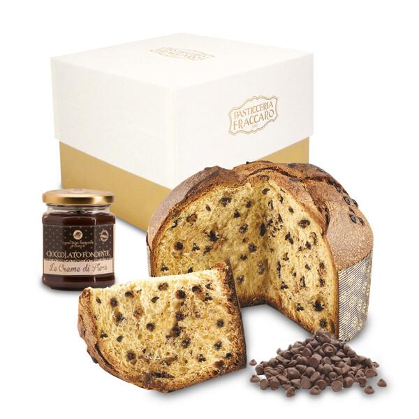 Panettone Crema gianduia + Crema spalmabile cioccolato fondente | 750gr
