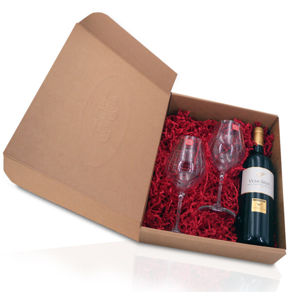 CONFEZIONE REGALO   Trentino D.O.C. Muller thurgau VIGNA SERVIS Cantina Vivallis 750 ml e due bicchieri