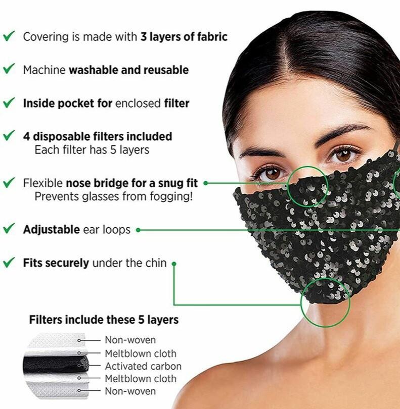 Dazzle Sequin Facecover