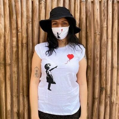 T-shirt bimba+palloncino Banksy