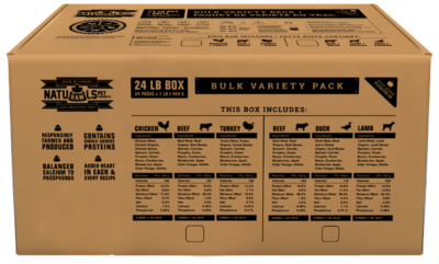 NatuRAWls Bulk Variety Base Beef, Chicken, Turkey - 3x-8x454g - 24lb