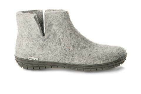 GLERUPS - Low Boot Black Rubber Sole - Grey