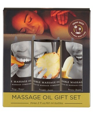 Earthly Body Edible Massage Oil Gift Set - 2 oz Banana, Mango & Pineapple
