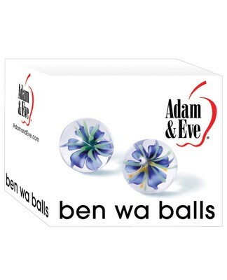 Glass Ben Wa Balls Blue Flower