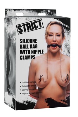 Strict Ball Gag w/Nipple Clamps