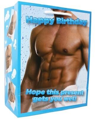 Happy Birthday Man In Towel Gift Bag