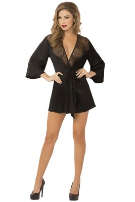 Lace & Satin Robe Black