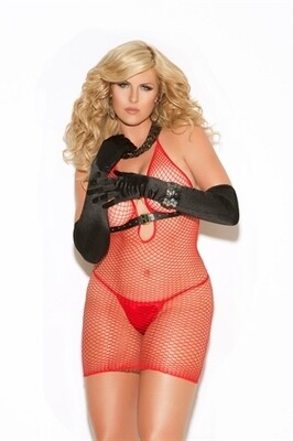 Diamond Net Dress Red Queen Size