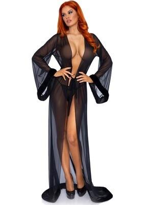 Fur Trimmed Robe Set Black One Size