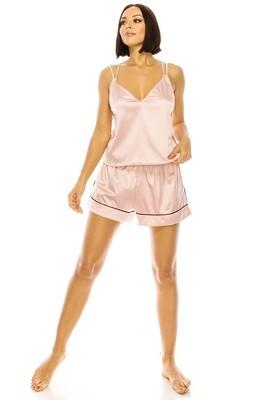 YM Satin PJ Short Set Pink