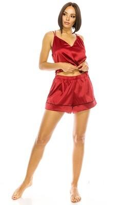 YM Satin PJ Short Set Red