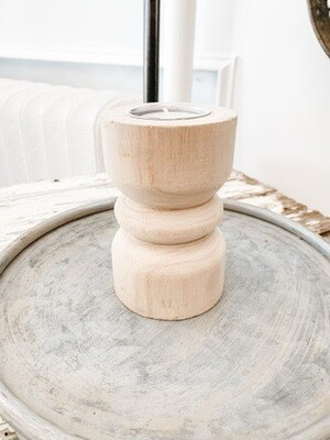 Natural Wood Candlestick S