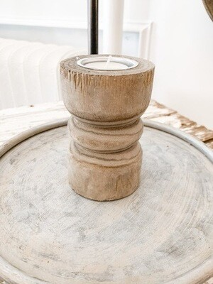 Grey Wood Candlestick S