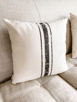 3 Stripe Grain Sack Pillow Black